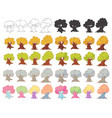 big set of cartoon trees isolated on white vector image