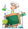 board template with scientist in lab vector image vector image