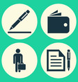 business icons set collection of pen contract vector image vector image