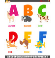 cartoon alphabet collection with animal characters vector image