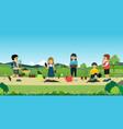 children help plant trees vector image