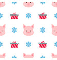 christmas card portrait of pink pig with gift box vector image vector image