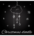 Christmas cloud in doodle style vector image vector image
