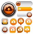 Cloud high-detailed web button collection vector | Price: 1 Credit (USD $1)