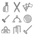 croquet equipment icons set outline style vector image vector image