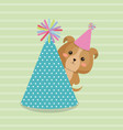 cute dog with hat party kawaii birthday card vector image