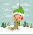 cute santa helper with gifts list vector image