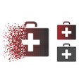 disintegrating dotted halftone first aid bag icon vector image