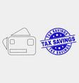 dot bank cards icon and grunge tax savings vector image vector image