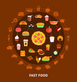 fast food menu circle composition poster vector image