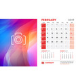 february 2019 desk calendar design template with vector image