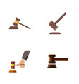 flat icon hammer set of crime government building vector image vector image