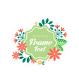 floral logo with frame and space for text original vector image vector image