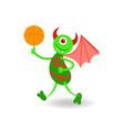 funny cartoon smiling horned monster with ball vector image