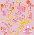 funny houses paths clearings lamb chicken vector image