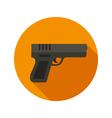 Gun flat style icon on round badge vector image