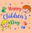 happy children day cute style vector image vector image