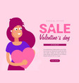 happy valentines day greeting card with young vector image vector image