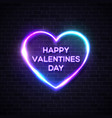 happy valentines day neon letters in heart shape vector image vector image