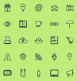 Internet website line icons navy blue color vector image
