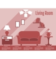 Living room interior flat infographic with text vector image