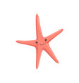 lovely red starfish cute sea creature character vector image vector image
