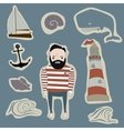 marine icons symbol and stickers set vector image vector image