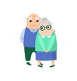 old senior man take care embrace a old woman vector image