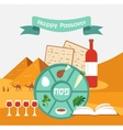 Passover seder plate with flat trasitional icons vector image vector image