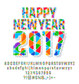 Patched colorful Happy New Year 2017 greeting card vector image vector image