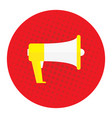 picture a megaphone on a red background pop vector image vector image