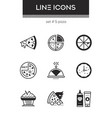 pizza - set of line design style icons vector image vector image