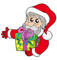 santa claus holding gift vector image