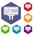 scoreboard icons set hexagon vector image vector image