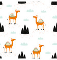 seamless pattern with cute camel and elements vector image