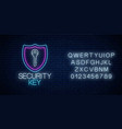 security key glowing neon sign with alphabet vector image