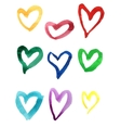 Set of colorful hand drawn watercolor hearts vector image vector image