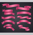 set of pink curved ribbon or banner vector image vector image
