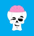 skull and brain winks emoji skeleton head happy vector image vector image