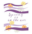 spring is in the air lettering handwriting vector image vector image