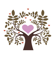 Spring tree with hearts vector image vector image