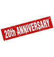square grunge red 20th anniversary stamp vector image
