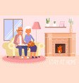 stay home social distancing concept flat vector image