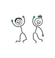 stick figures stickman good and happy vector image vector image