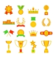 Trophy and awards icons set flat vector image vector image