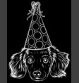 white silhouette cute little puppy with party vector image