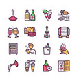 wine making color linear icons set vector image vector image