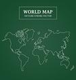 World Map White Outline Stroke on Green Background vector image