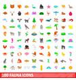 100 fauna icons set cartoon style vector image vector image