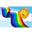 A rainbow beside the happy sun vector image vector image